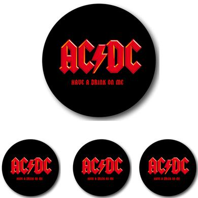 AC/DC 4 Piece Have A Drink On Me Circle Coaster Set