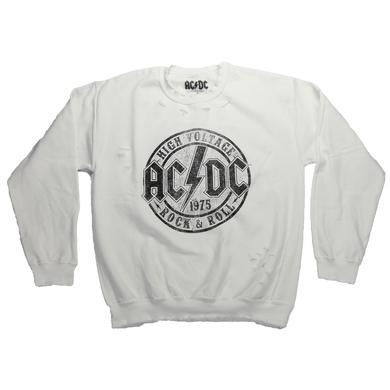 AC/DC Junior's Weathered High Voltage Stamp Crew Neck Sweatshirt
