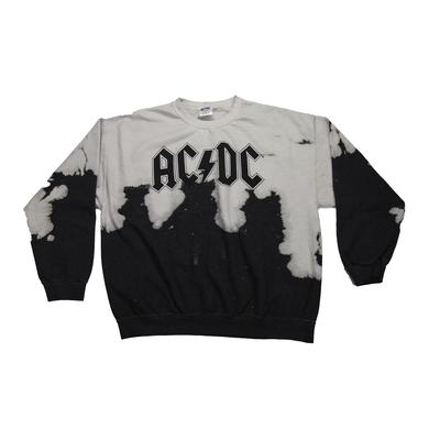 AC/DC Acid Washed Logo Crew Neck Sweatshirt