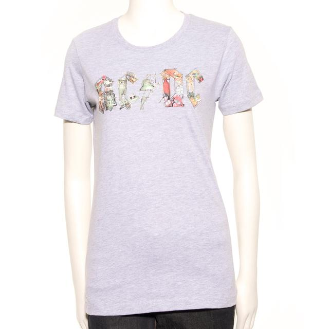 AC/DC Grey Ladies Icon T-Shirt