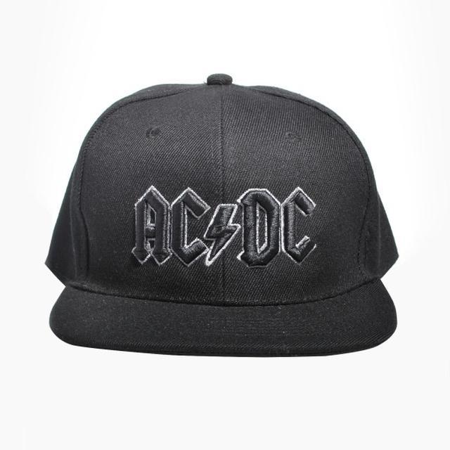 AC/DC Grey Outline 3D Logo Snapback Baseball Hat
