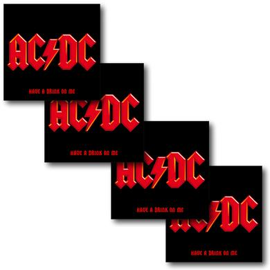 AC/DC 4 Piece Have A Drink On Me Square Coaster Set