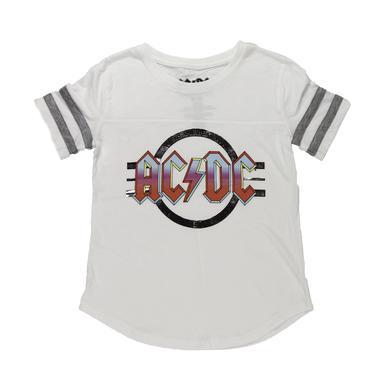 AC/DC Girls Foil Logo Striped Sleeve T-Shirt