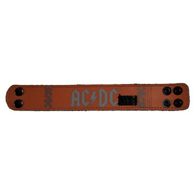 AC/DC Silver On Red Leather Cuff w/Pick Holder