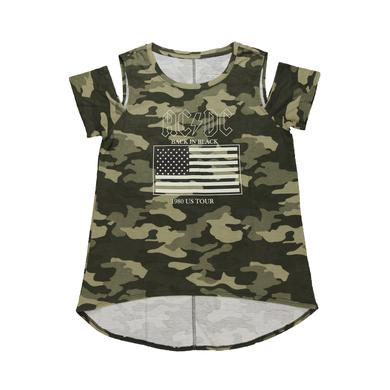 AC/DC Women's 1980 Tour Cold Shoulder Cammo Top