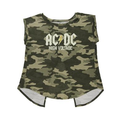 AC/DC Women's Open Back High Voltage Cammo Top