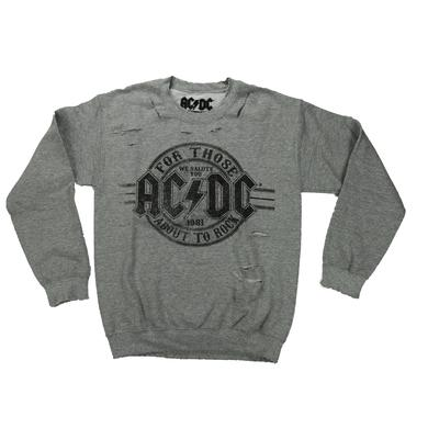 AC/DC For Those About To Rock Tattered Lightweight Fleece Crew Neck Sweatshirt