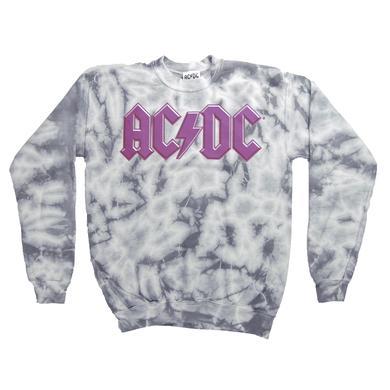 AC/DC Junior's Tie Dye Pink Logo Crew Neck