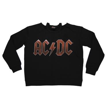 AC/DC Women's Cold Shoulder Long Sleeve Logo Crew Neck Sweatshirt