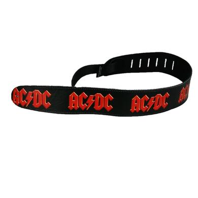 AC/DC Leather Red Logo Guitar Strap
