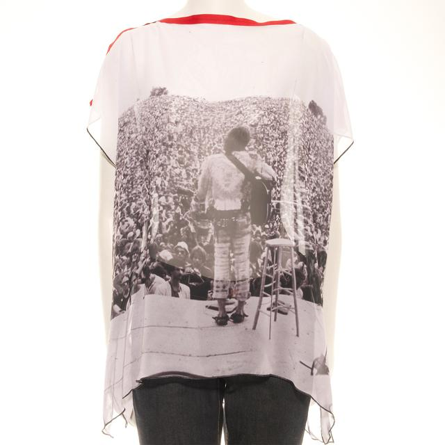 Woodstock Women's Sheer Shoulder Drape Dress