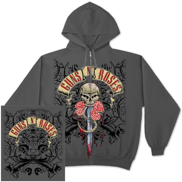 Guns N' Roses Dripping Dagger Zip Hoodie Gray