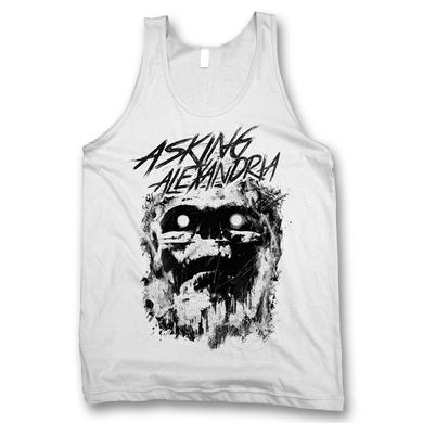 Asking Alexandria Scratch Skull Tank Top - White