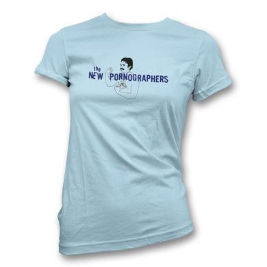 The New Pornographers Mustache Man Blue T-Shirt - Women's