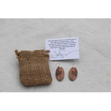Jason Mraz Avocado Wood Earrings with Ruby