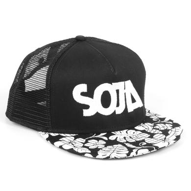SOJA ADJ Black Hat with SOJA on front and White Flowers