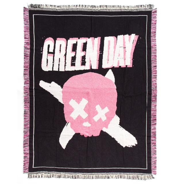 Green Day Skull Woven Blanket