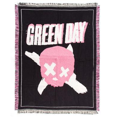 Green Day Skull Woven Blanket