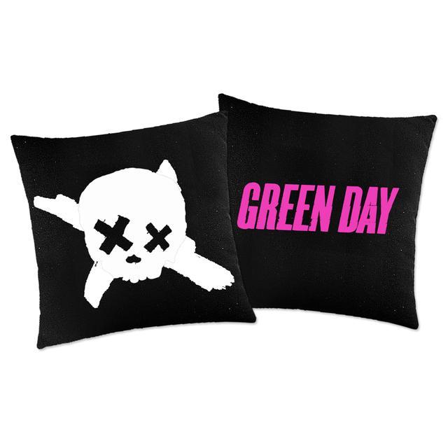 Green Day Skull Woven Pillow