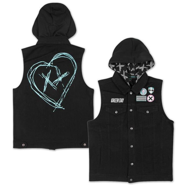 Green Day Patchwork Denim Vest