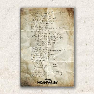 "High Valley Autographed ""Every Week's Got A Friday"" Lyric Poster"