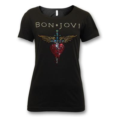 Bon Jovi Heart & Dagger Bling T-shirt - Women's