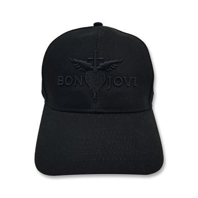Bon Jovi Heart & Dagger Embroidered Black Hat