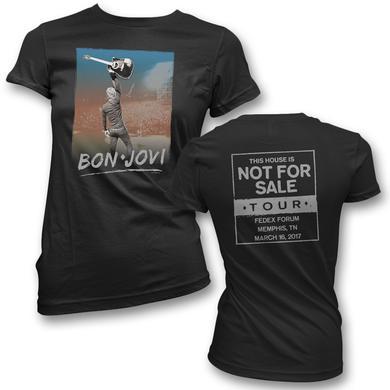 Bon Jovi Raised Guitar T-Shirt - Women's - Memphis, TN 3/16/17
