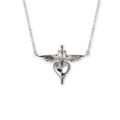 Bon Jovi Sterling Silver Plated Heart & Dagger Necklace