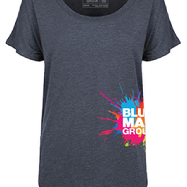 Blue Man Group Ladies Side Print Logo Dolmen T-Shirt