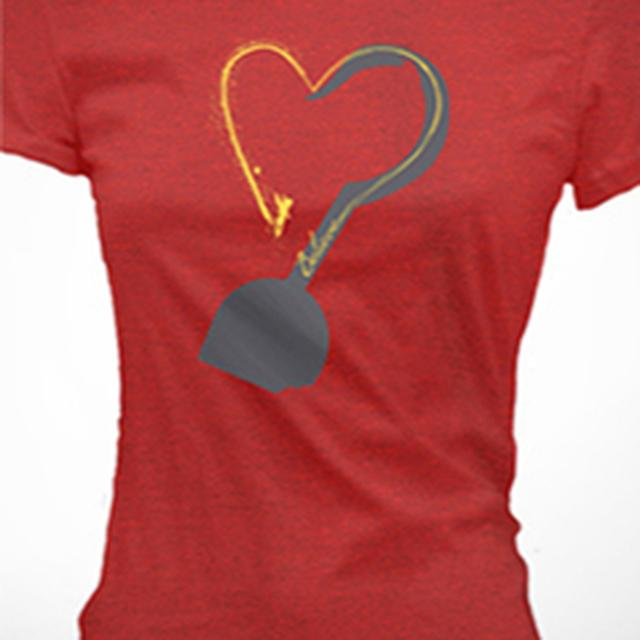 Finding Neverland Believe Heart Ladies Red T-Shirt