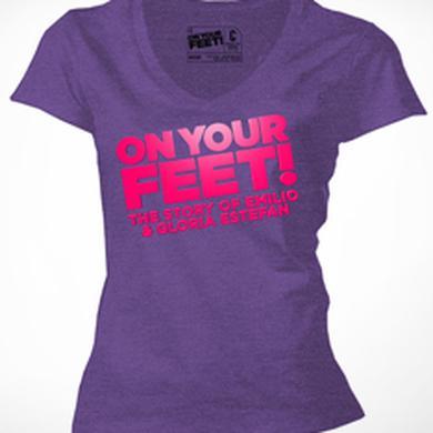 ON YOUR FEET: THE STORY OF EMILIO & GLORIA Logo Purple V-Neck Ladies Tee