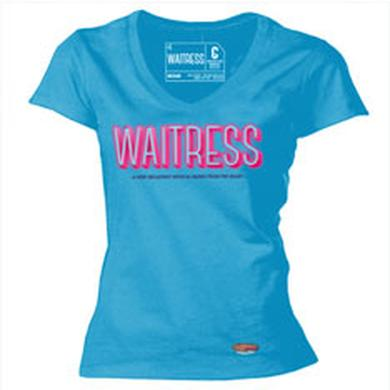 Waitress Blue V-Neck Ladies T-Shirt