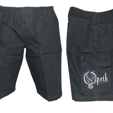 Opeth Embroidered White Logo Cargo Shorts