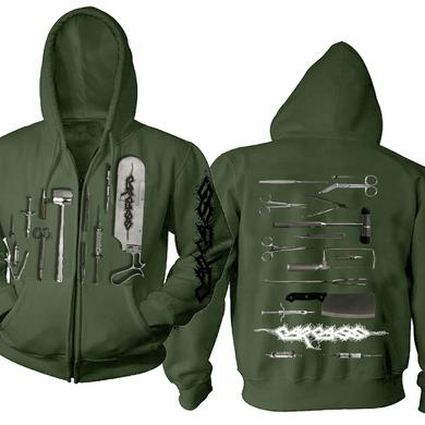 Carcass Tools Logo Olive Zip Hoodie