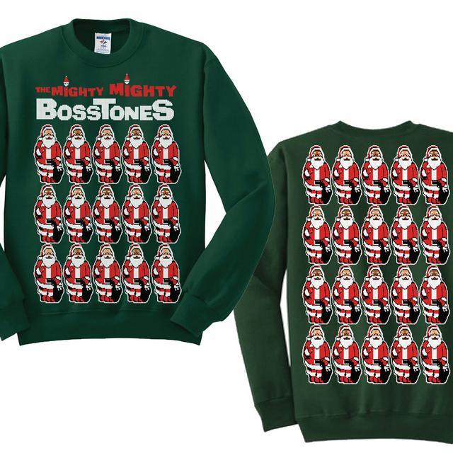 Mighty Mighty Bosstones Many Santas Green Sweater