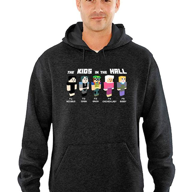 The Kids in the Hall Grey Minecraft Characters Pullover Hoodie