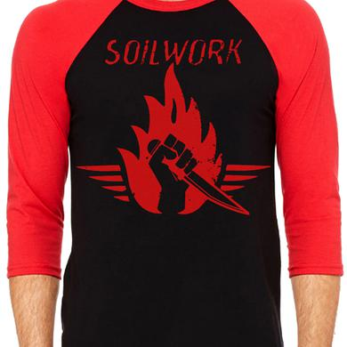 Soilwork Stabbing the Drama Red & Black Baseball Shirt