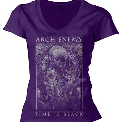 Arch Enemy Time is Black Ladies Purple V-Neck