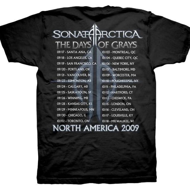 Sonata Arctica Days of Grays-2009 Tour Dates Back Tee
