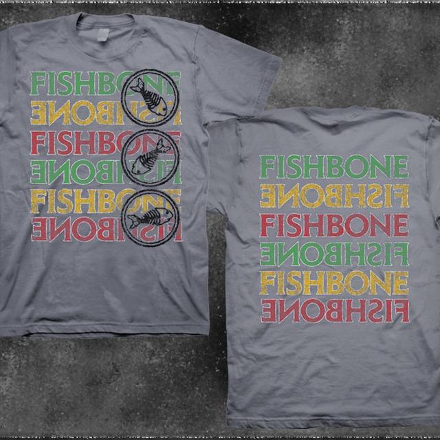Fishbone Stacked Logo & Name Charcoal T-Shirt