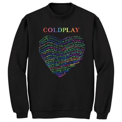 Coldplay Lyric Raglan Crew Neck Sweatshirt