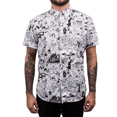 Father John Misty PC Short Sleeve Unisex Oxford Button Up Shirt - White/Black