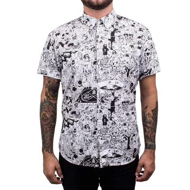 Father John Misty PC Short Sleeve Unisex Oxford Button Up Shirt - White/Black