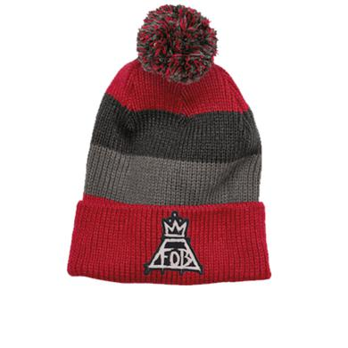 Fall Out Boy Red/Grey Logo Patch Beanie