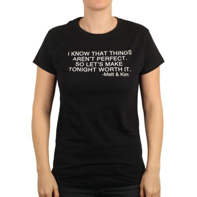 Matt & Kim Womens Now Lyric Black Tee