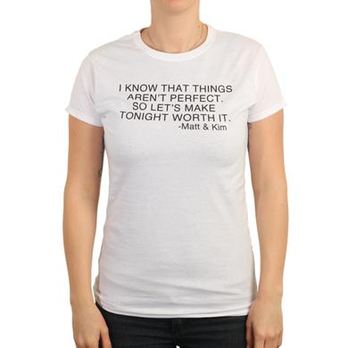 Matt & Kim Womens Now Lyric White Tee