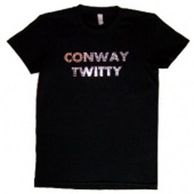 Conway Twitty Ladies Black Tee-Silver