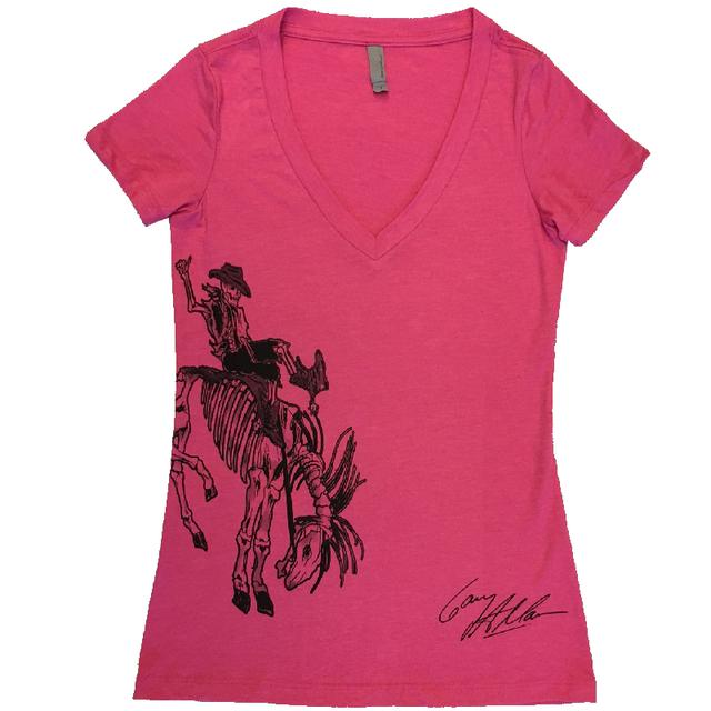 Gary Allan Ladies Raspberry V Neck Tee