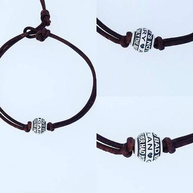 Gary Allan Sterling Silver Best I Ever Had Song Bead with Brown Leather Bracelet